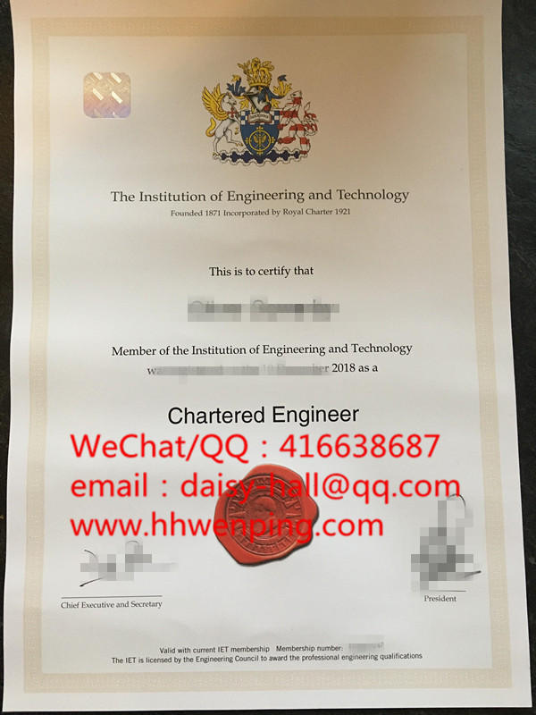 the institution of engineering and technology英国工程技术协会证书